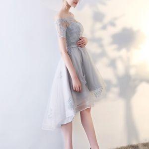Metisu silver, off shoulder, high-low dress size M
